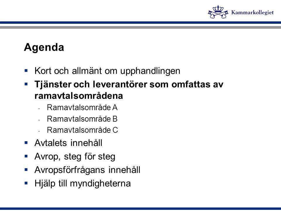 Agenda  Kort och allmänt om upphandlingen  Tjänster och leverantörer som omfattas av ramavtalsområdena - Ramavtalsområde A - Ramavtalsområde B - Ram