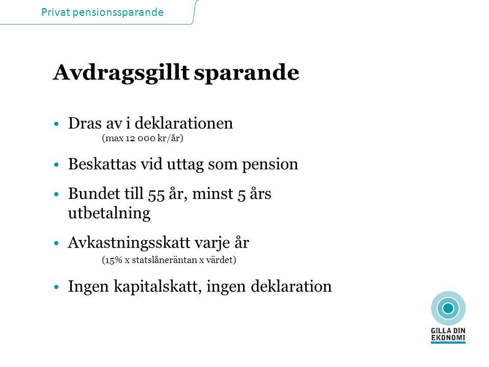 Privat pensionssparande Avdragsgillt sparande Dras av i deklarationen (max 12 000 kr/år) Beskattas vid uttag som pension Bundet till 55 år, minst 5 år