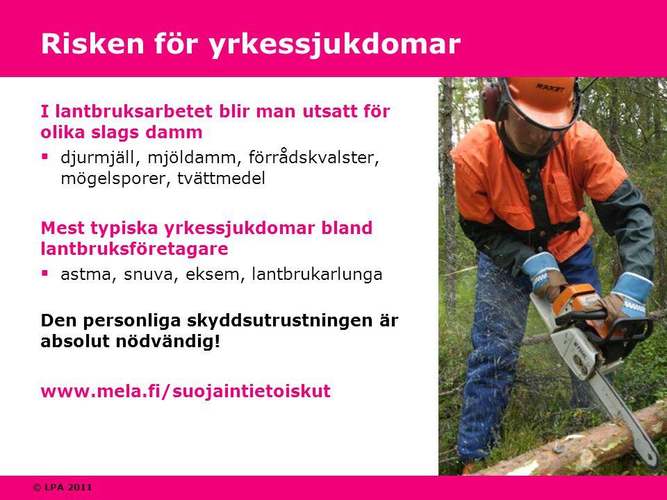 © LPA 2011 Risken för yrkessjukdomar I lantbruksarbetet blir man utsatt för olika slags damm  djurmjäll, mjöldamm, förrådskvalster, mögelsporer, tvät