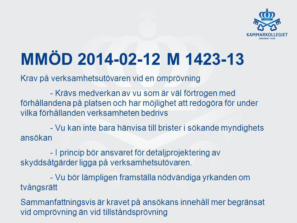 MMÖD 2014-02-12 M 1423-13 Krav på verksamhetsutövaren vid en omprövning - Krävs medverkan av vu som är väl förtrogen med förhållandena på platsen och
