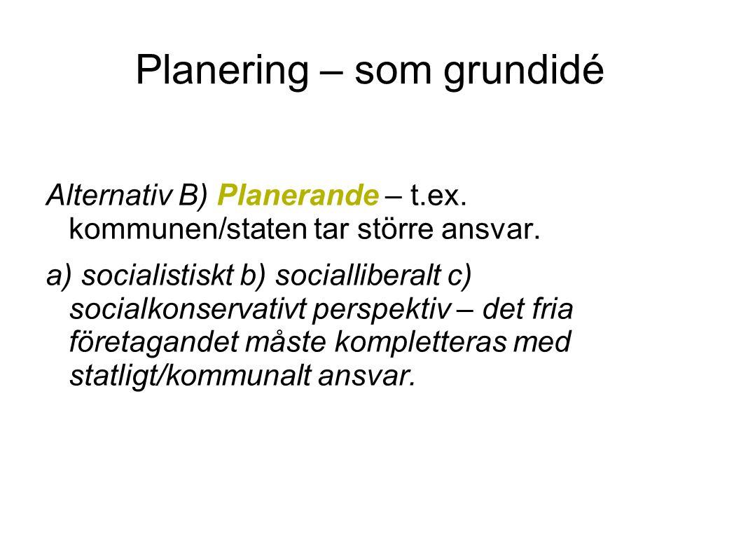 Planering – som grundidé Alternativ B) Planerande – t.ex. kommunen/staten tar större ansvar. a) socialistiskt b) socialliberalt c) socialkonservativt