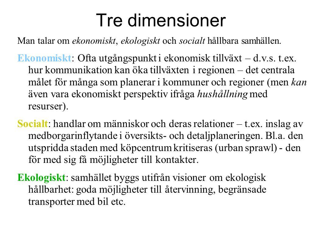 Tre dimensioner Man talar om ekonomiskt, ekologiskt och socialt hållbara samhällen. Ekonomiskt: Ofta utgångspunkt i ekonomisk tillväxt – d.v.s. t.ex.