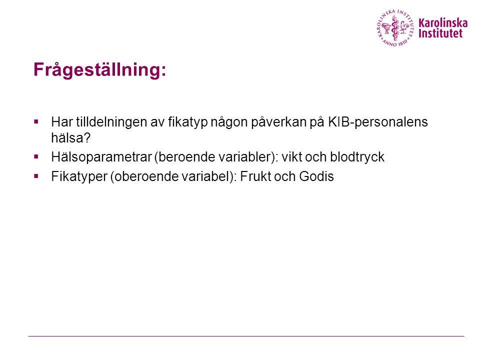 Frågeställning:  Har tilldelningen av fikatyp någon påverkan på KIB-personalens hälsa?  Hälsoparametrar (beroende variabler): vikt och blodtryck  F