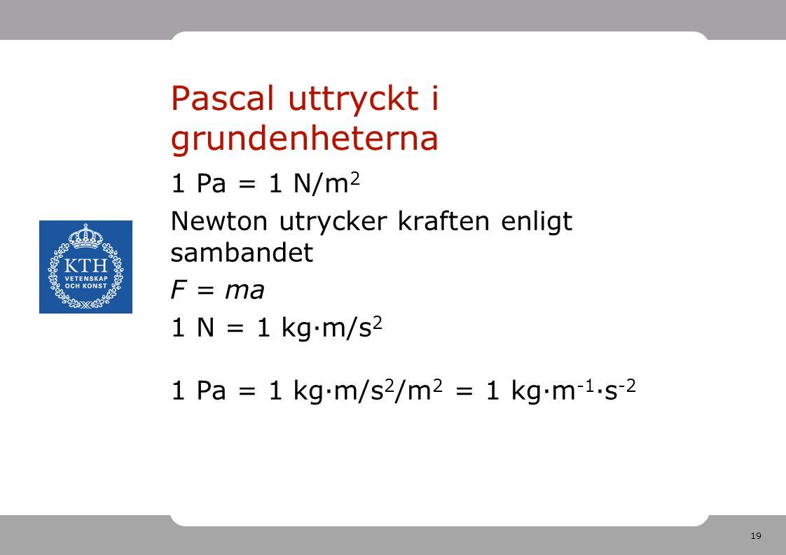 19 Pascal uttryckt i grundenheterna 1 Pa = 1 N/m 2 Newton utrycker kraften enligt sambandet F = ma 1 N = 1 kg·m/s 2 1 Pa = 1 kg·m/s 2 /m 2 = 1 kg·m -1