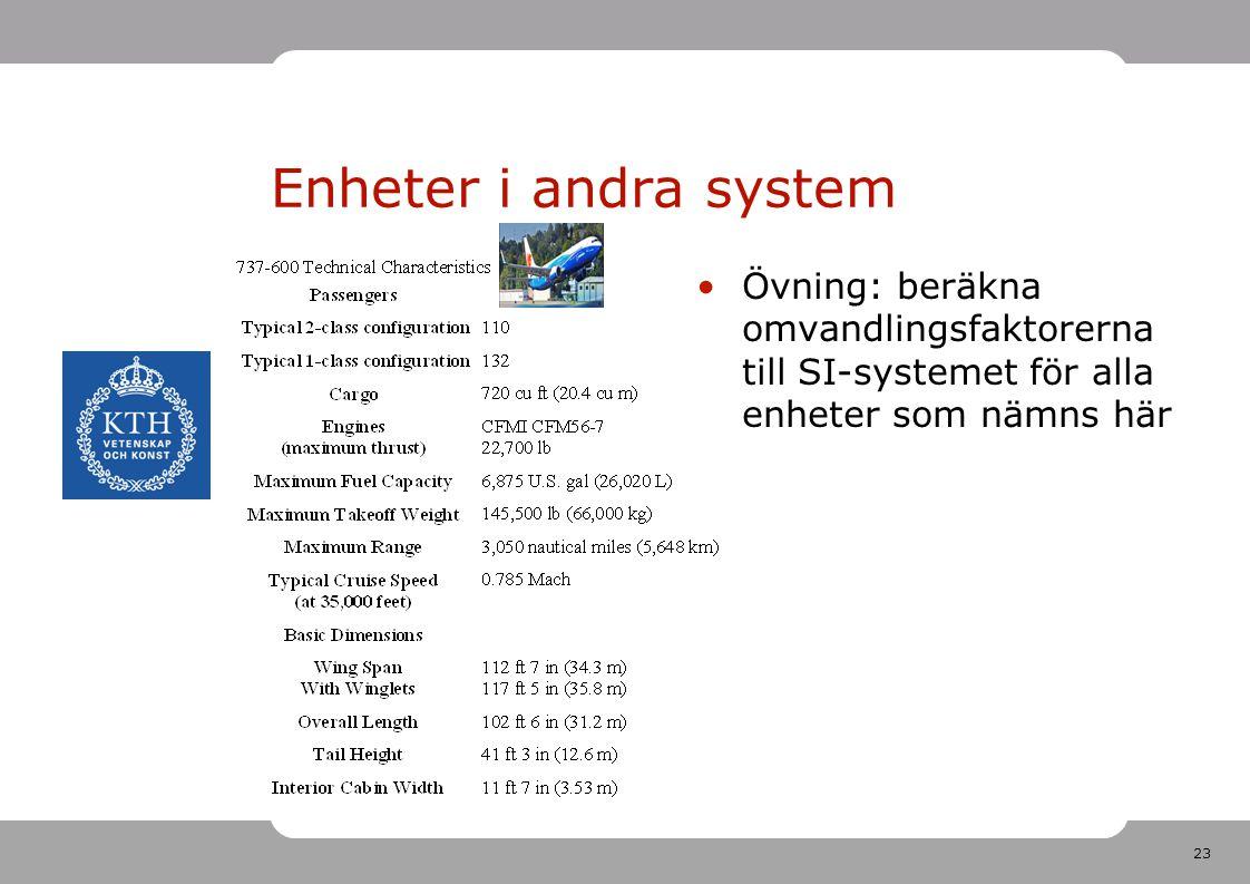 23 Enheter i andra system Övning: beräkna omvandlingsfaktorerna till SI-systemet för alla enheter som nämns här
