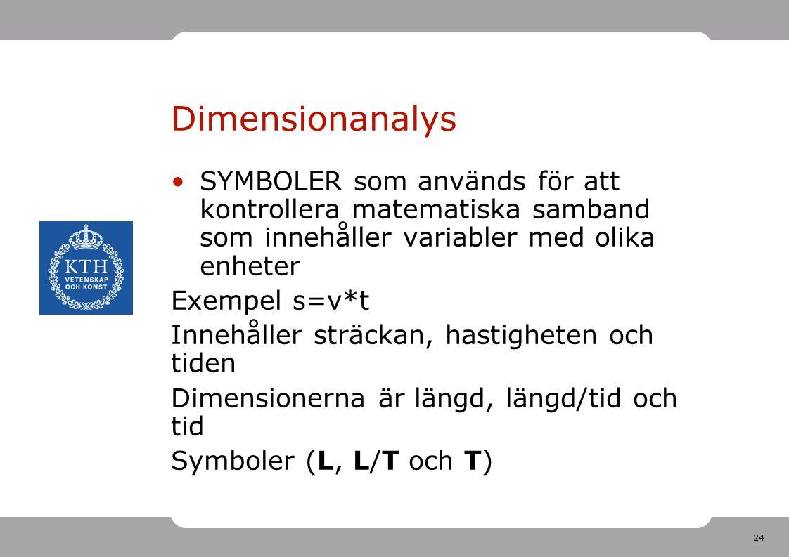 24 Dimensionanalys SYMBOLER som används för att kontrollera matematiska samband som innehåller variabler med olika enheter Exempel s=v*t Innehåller st