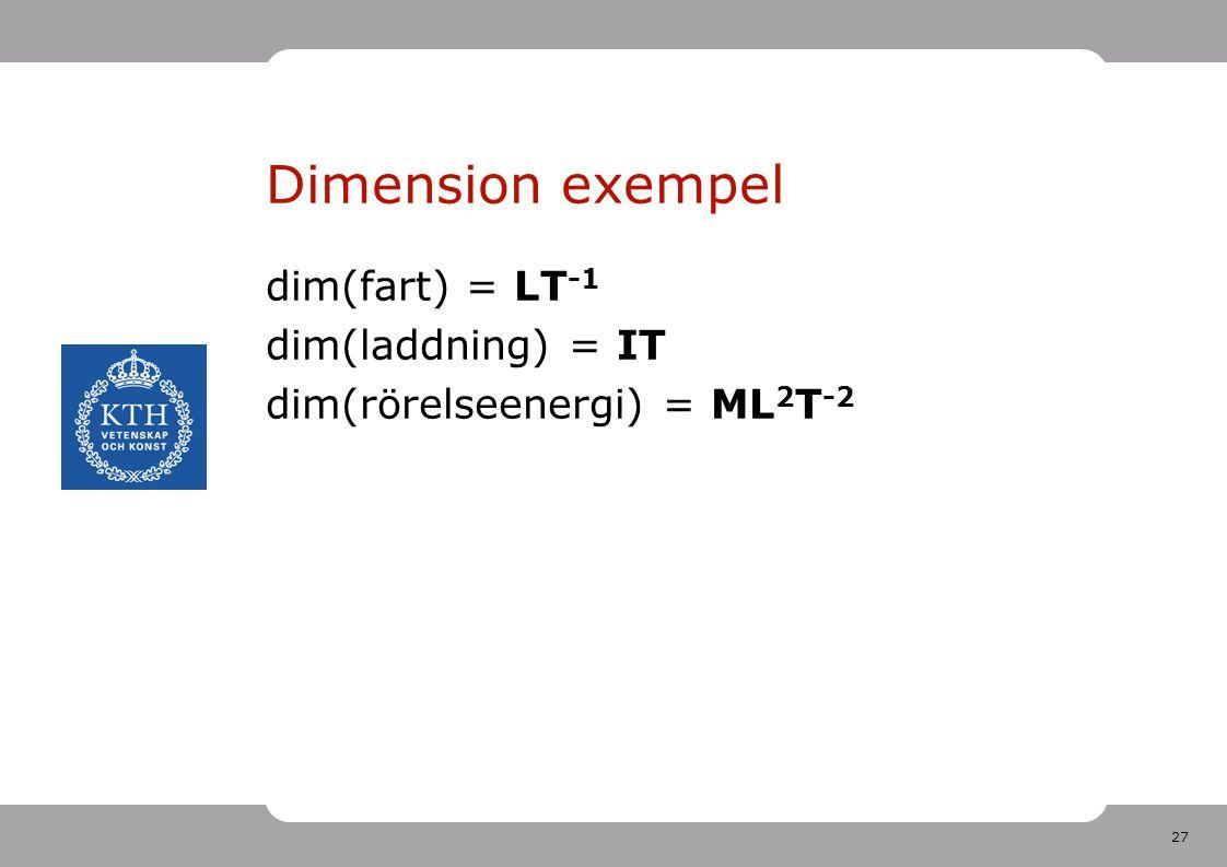 27 Dimension exempel dim(fart) = LT -1 dim(laddning) = IT dim(rörelseenergi) = ML 2 T -2