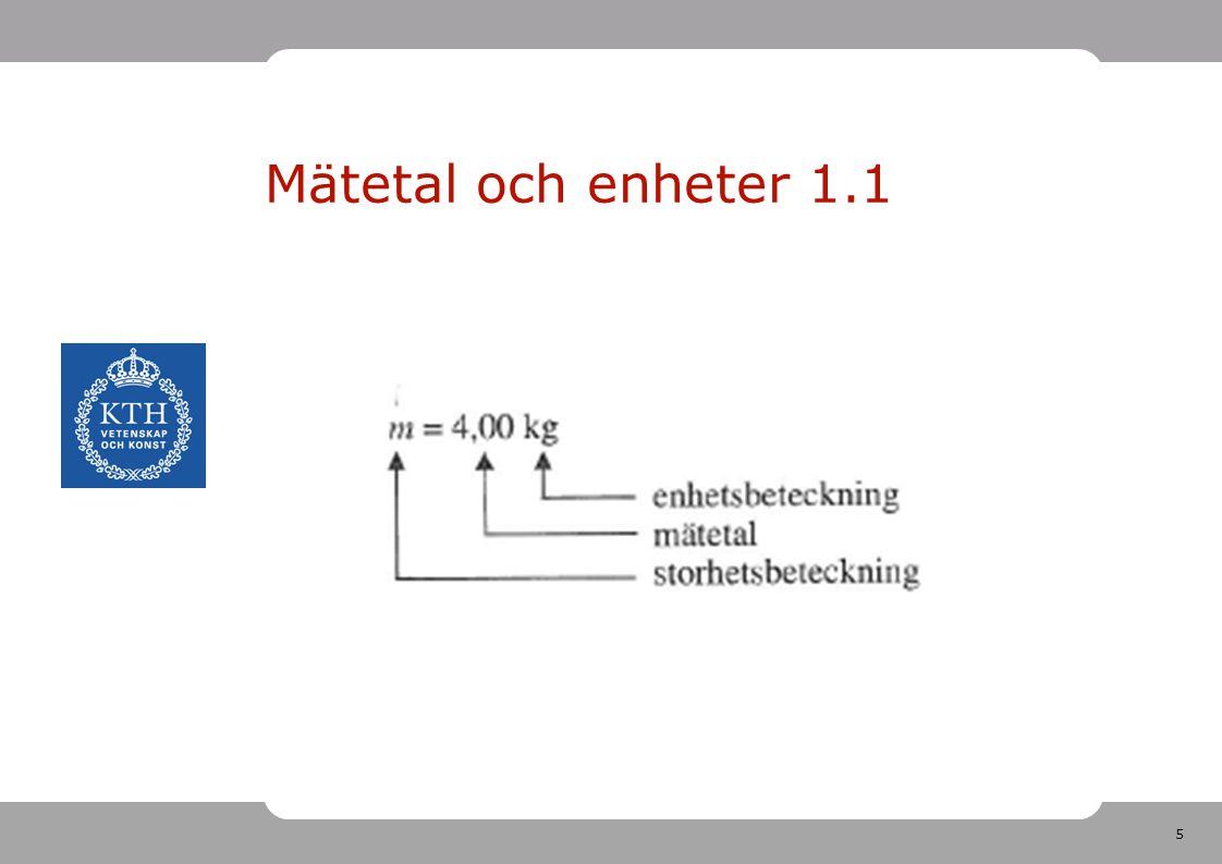 6 Enheter i SI-systemet Finns 7 st grundenheter Ska känna igen de vanligaste Många härledda enheter Dessutom prefix nm, m, mm, cm, m, km eller mg, g, hg, kg