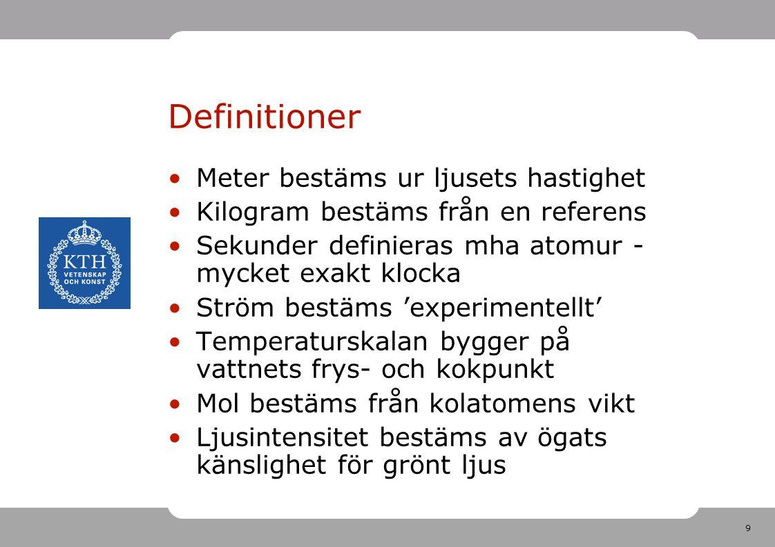 9 Definitioner Meter bestäms ur ljusets hastighet Kilogram bestäms från en referens Sekunder definieras mha atomur - mycket exakt klocka Ström bestäms