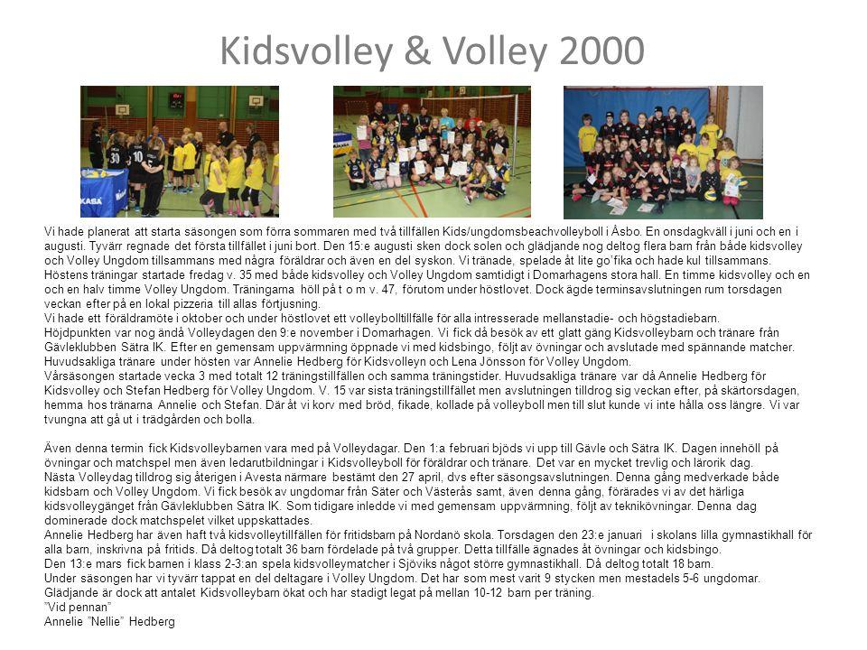 Kidsvolley & Volley 2000 Vi hade planerat att starta säsongen som förra sommaren med två tillfällen Kids/ungdomsbeachvolleyboll i Åsbo. En onsdagkväll