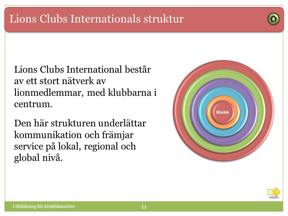 Lions Clubs Internationals struktur 1 1 Klubb Utbildning för klubbkassörer 11 Lions Clubs International består av ett stort nätverk av lionmedlemmar, med klubbarna i centrum.