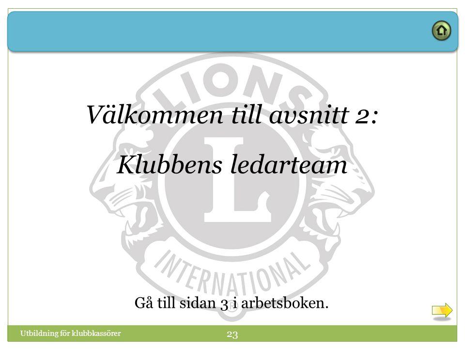 Utbildning för klubbkassörer 23 Välkommen till avsnitt 2: Klubbens ledarteam Gå till sidan 3 i arbetsboken.