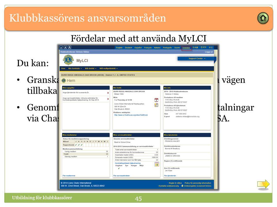 Klubbkassörens ansvarsområden Utbildning för klubbkassörer 45 Fördelar med att använda MyLCI Du kan: Granska tidigare kontoutdrag och fakturor hela vägen tillbaka till december 2010.