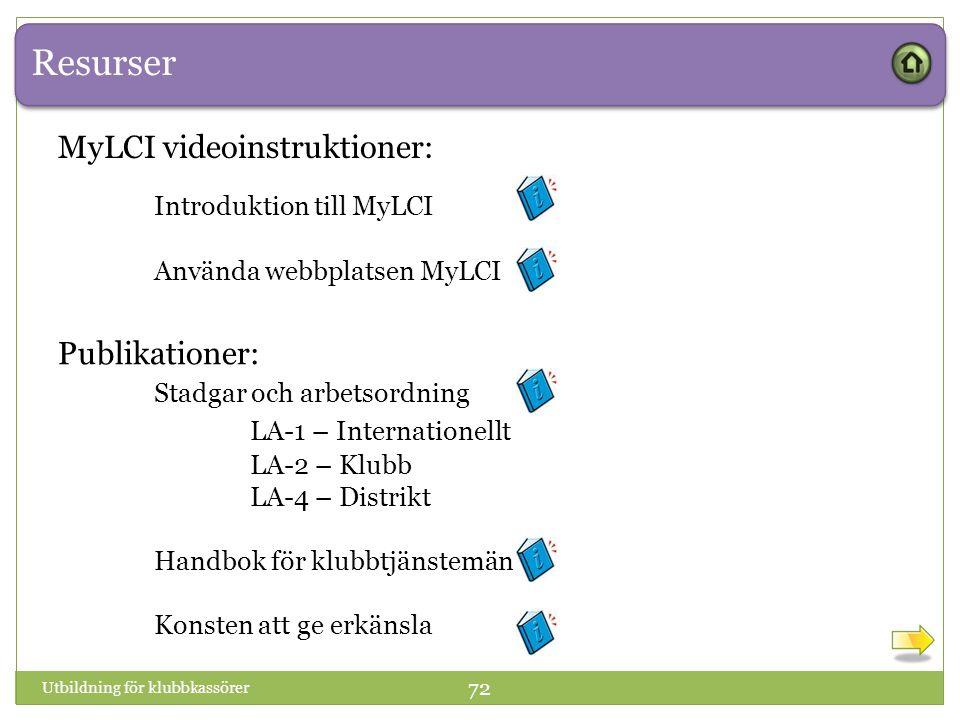 Resurser Utbildning för klubbkassörer 72 Publikationer: Stadgar och arbetsordning LA-1 – Internationellt LA-2 – Klubb LA-4 – Distrikt Handbok för klubbtjänstemän Konsten att ge erkänsla MyLCI videoinstruktioner: Introduktion till MyLCI Använda webbplatsen MyLCI