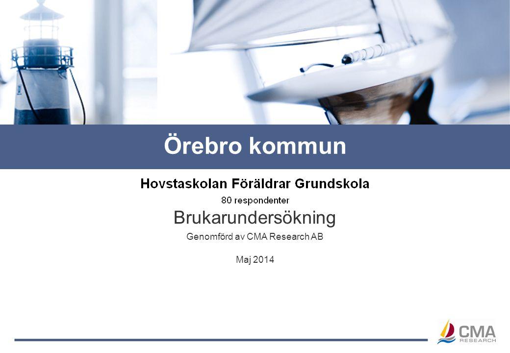 Genomförd av CMA Research AB Brukarundersökning Maj 2014 Örebro kommun
