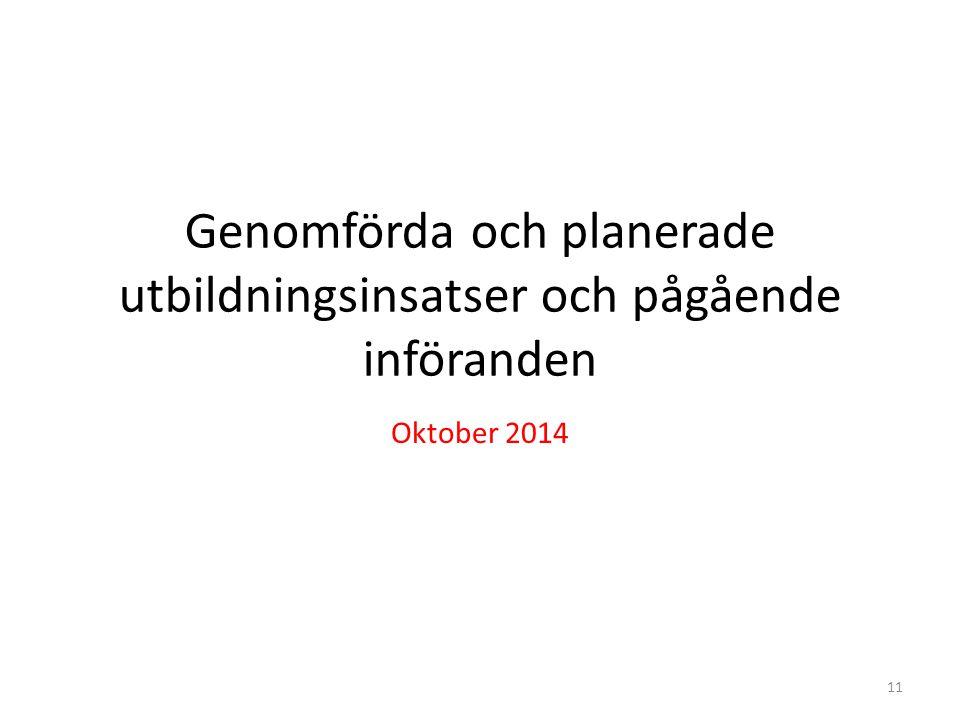 Genomförda och planerade utbildningsinsatser och pågående införanden Oktober 2014 11