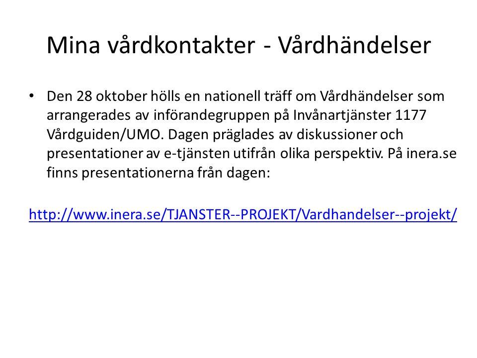 Mina vårdkontakter - Vårdhändelser Den 28 oktober hölls en nationell träff om Vårdhändelser som arrangerades av införandegruppen på Invånartjänster 11
