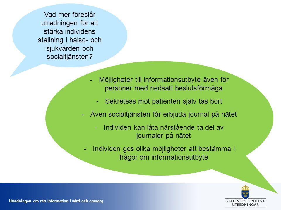 Utredningen om rätt information i vård och omsorg Vad mer föreslår utredningen för att stärka individens ställning i hälso- och sjukvården och socialt