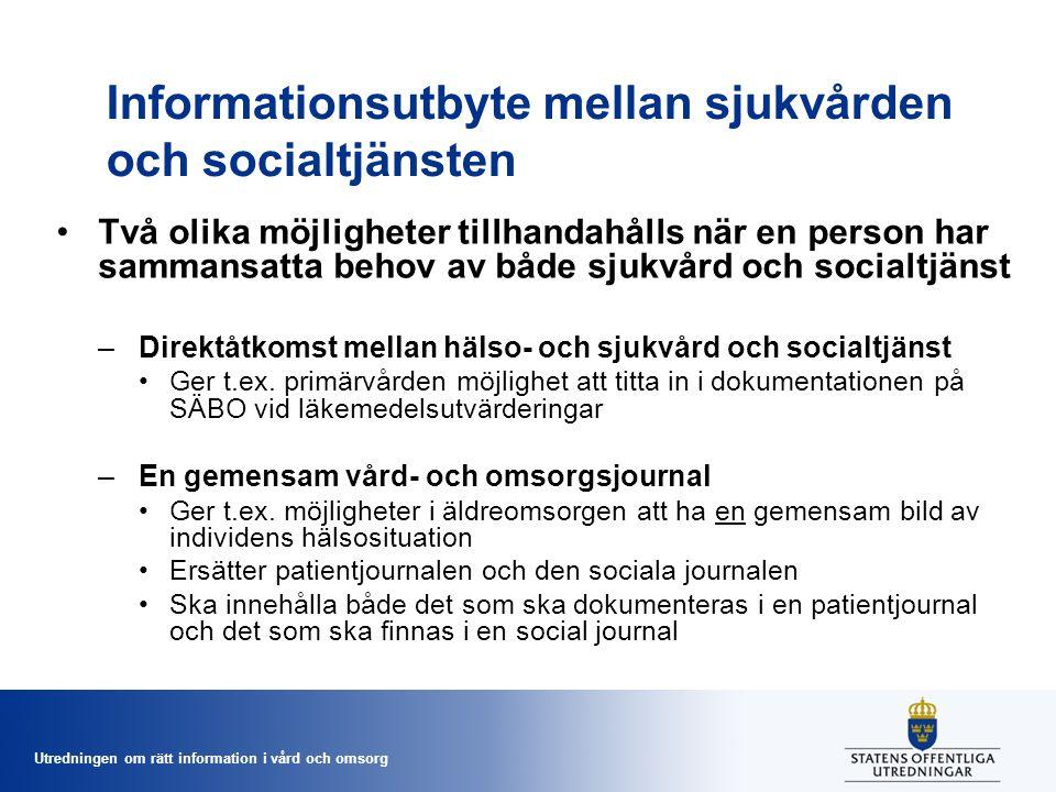 Utredningen om rätt information i vård och omsorg Informationsutbyte mellan sjukvården och socialtjänsten Två olika möjligheter tillhandahålls när en
