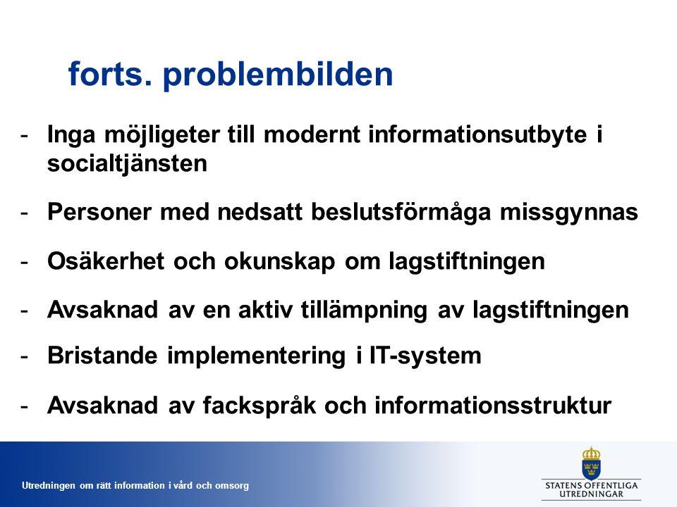 Utredningen om rätt information i vård och omsorg forts. problembilden -Inga möjligeter till modernt informationsutbyte i socialtjänsten -Personer med