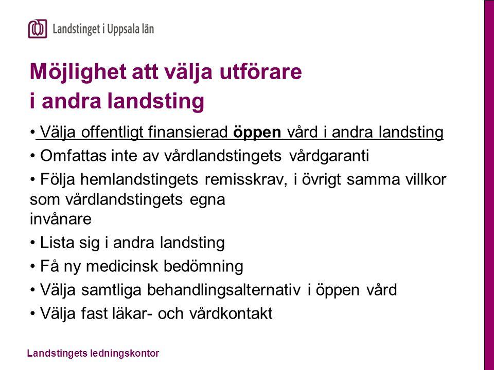 Landstingets ledningskontor Listning i andra landsting Möjlighet att välja vårdcentral lista sig i annat landsting från 1 januari 2015 Kräver nationell samordning.