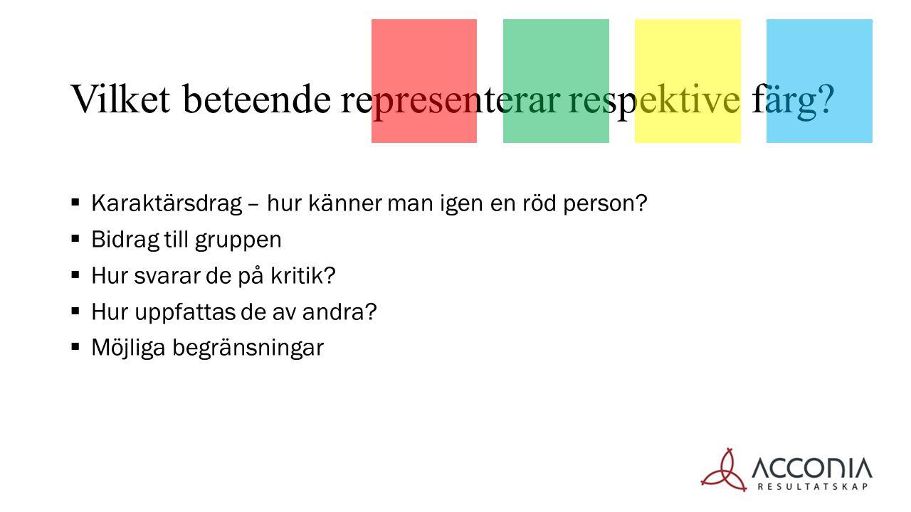  Karaktärsdrag – hur känner man igen en röd person?  Bidrag till gruppen  Hur svarar de på kritik?  Hur uppfattas de av andra?  Möjliga begränsni