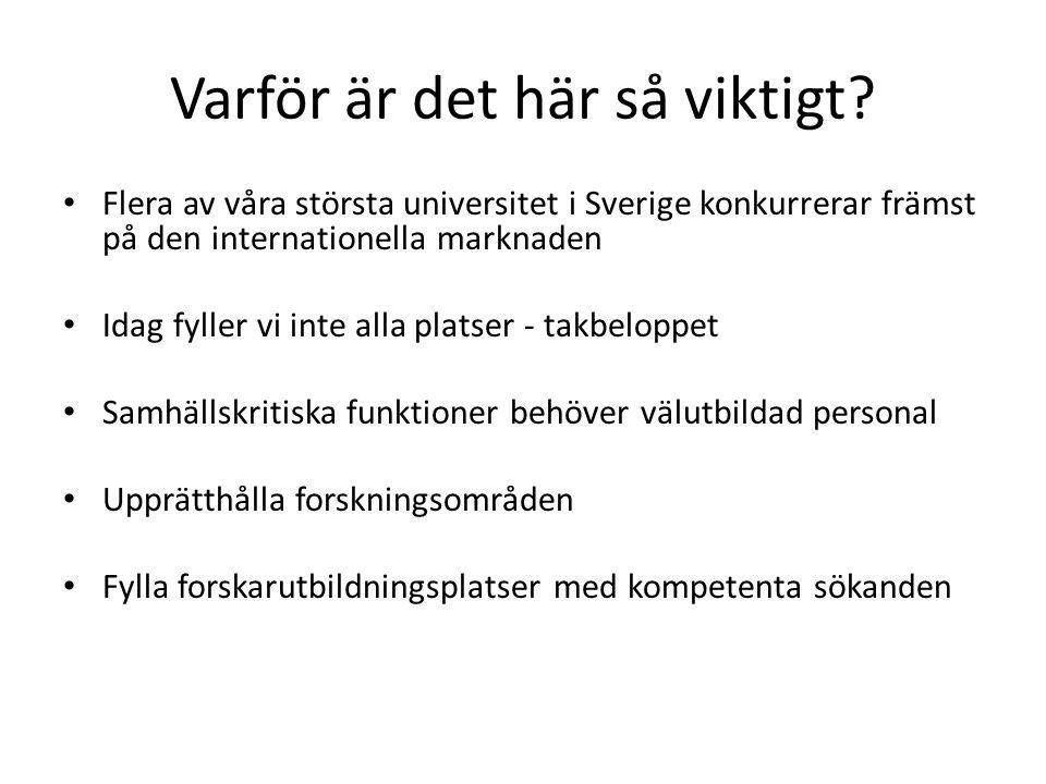 Varför är det här så viktigt? Flera av våra största universitet i Sverige konkurrerar främst på den internationella marknaden Idag fyller vi inte alla