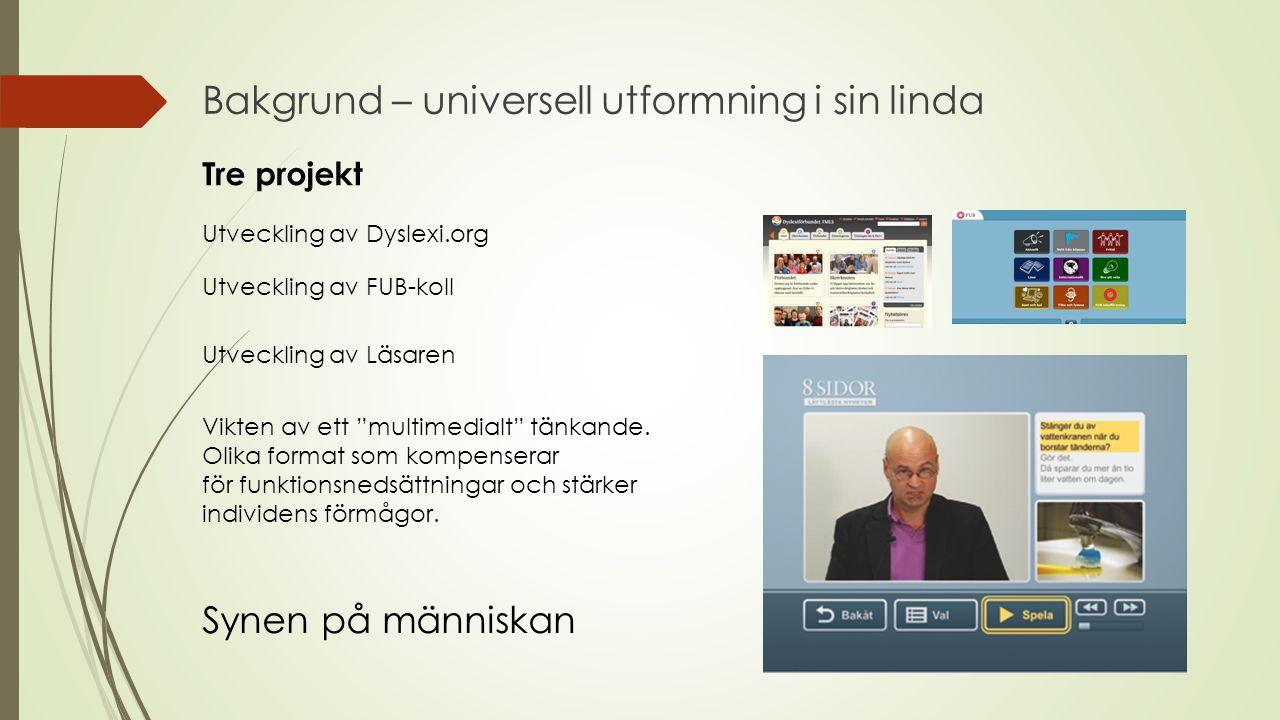 Bakgrund – universell utformning i sin linda Utveckling av Dyslexi.org Tre projekt Utveckling av FUB-koll Vikten av ett multimedialt tänkande.