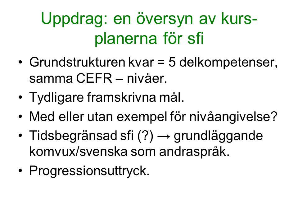 Uppdrag: en översyn av kurs- planerna för sfi Grundstrukturen kvar = 5 delkompetenser, samma CEFR – nivåer. Tydligare framskrivna mål. Med eller utan