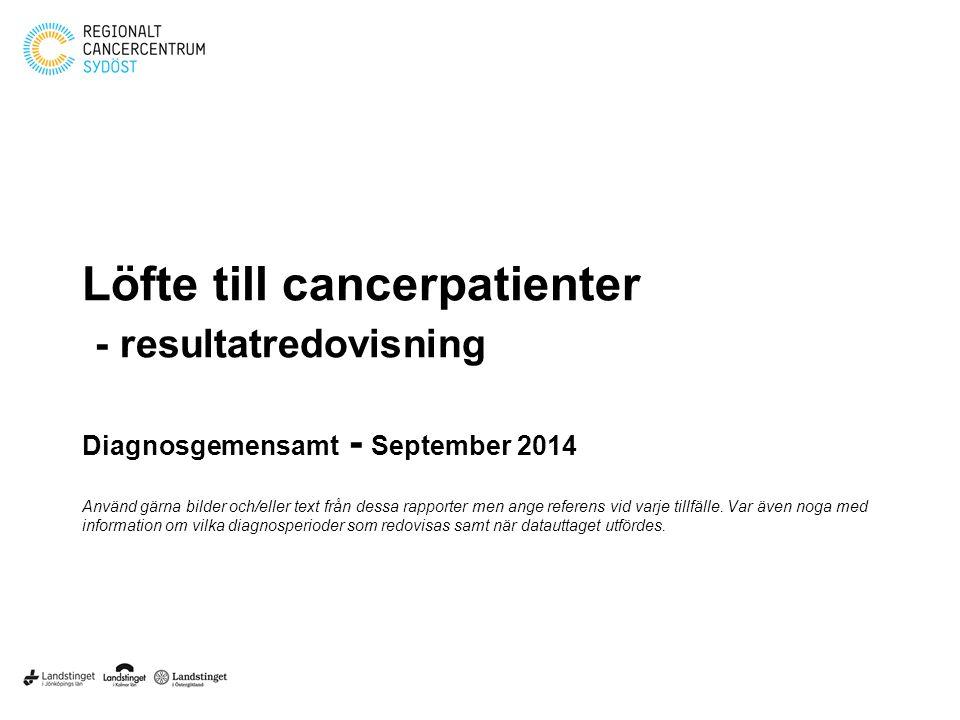 Löfte till cancerpatienter - resultatredovisning Diagnosgemensamt - September 2014 Använd gärna bilder och/eller text från dessa rapporter men ange re