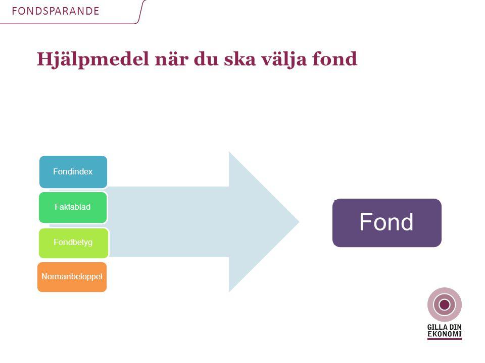 Hjälpmedel när du ska välja fond FONDSPARANDE Fond