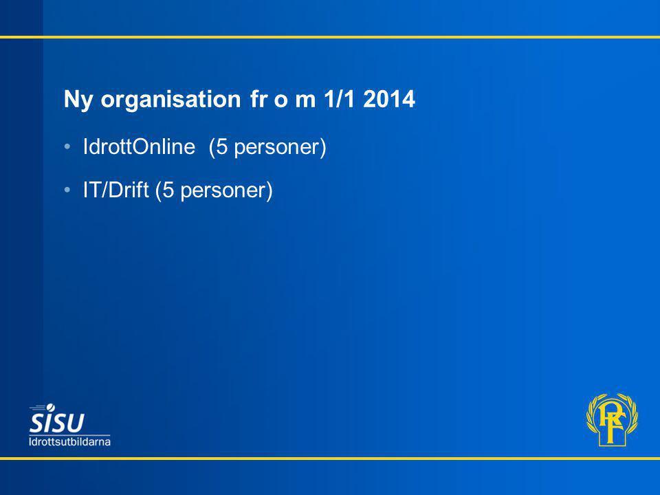 Ny organisation fr o m 1/1 2014 IdrottOnline (5 personer) IT/Drift (5 personer)