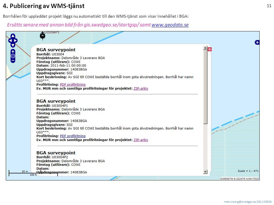 mats.oberg@swedgeo.se/SGI/130626 11 Borrhålen för uppladdat projekt läggs nu automatiskt till den WMS-tjänst som visar innehållet i BGA: Ersätts senare med annan bild från gis.swedgeo.se/startgsp/ samt www.geodata.sewww.geodata.se 4.
