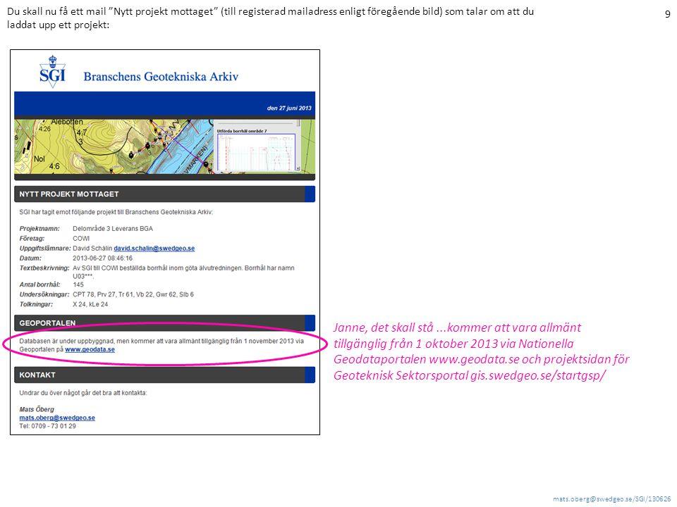 mats.oberg@swedgeo.se/SGI/130626 9 Du skall nu få ett mail Nytt projekt mottaget (till registerad mailadress enligt föregående bild) som talar om att du laddat upp ett projekt: Janne, det skall stå...kommer att vara allmänt tillgänglig från 1 oktober 2013 via Nationella Geodataportalen www.geodata.se och projektsidan för Geoteknisk Sektorsportal gis.swedgeo.se/startgsp/