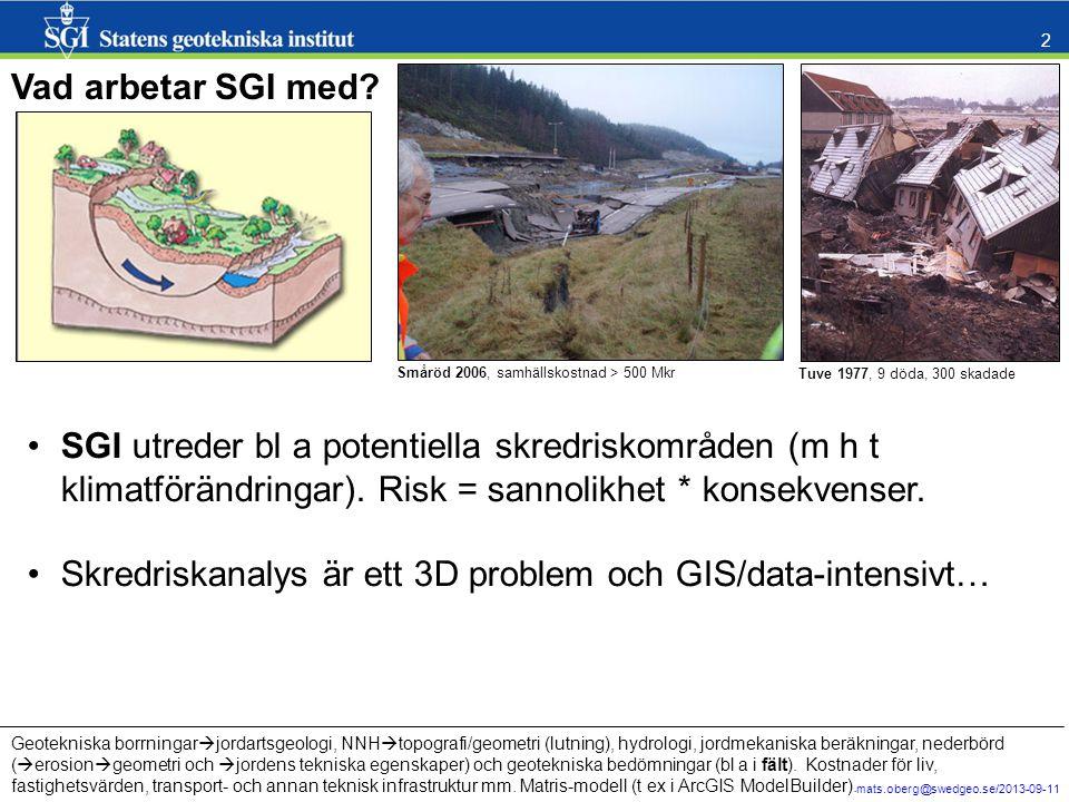 mats.oberg@swedgeo.se/2013-09-11 2 Vad arbetar SGI med? Tuve 1977, 9 döda, 300 skadade Småröd 2006, samhällskostnad > 500 Mkr SGI utreder bl a potenti
