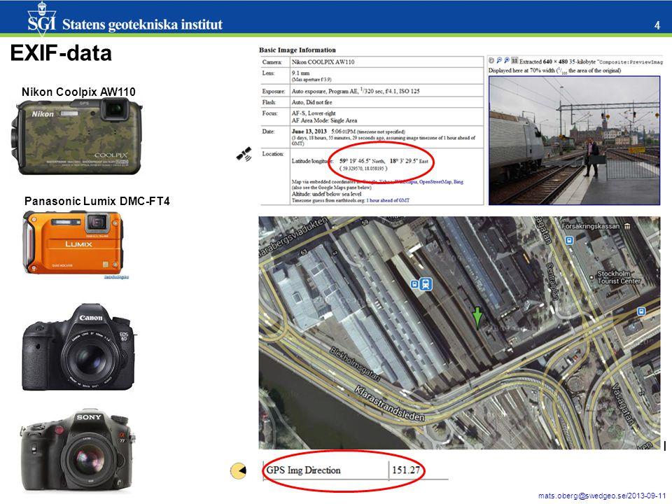 mats.oberg@swedgeo.se/2013-09-11 5 Inbyggd i 10.1 – läser ej EXIF direction Finns på nätet – läser både EXIF GPS location och direction http://www.arcgis.com/home/item.html?id=1cfeb0e0b8b946239ad10552eec5a21e