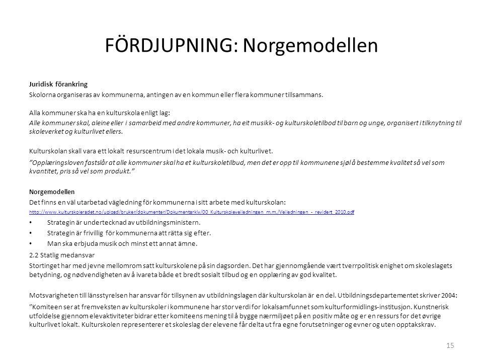 FÖRDJUPNING: Norgemodellen Juridisk förankring Skolorna organiseras av kommunerna, antingen av en kommun eller flera kommuner tillsammans.