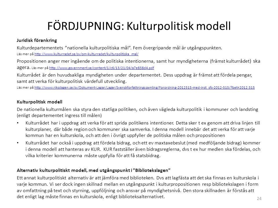FÖRDJUPNING: Kulturpolitisk modell Juridisk förankring Kulturdepartementets nationella kulturpolitiska mål .