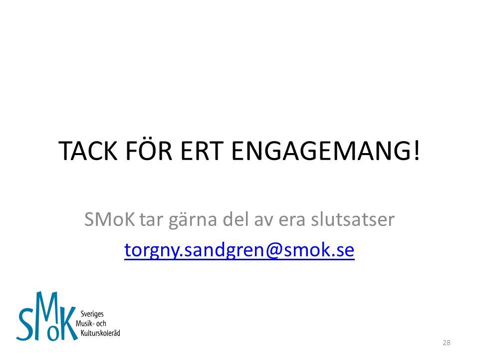 TACK FÖR ERT ENGAGEMANG! SMoK tar gärna del av era slutsatser torgny.sandgren@smok.se 28