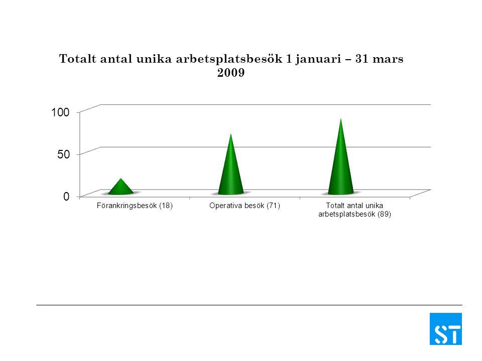 Totalt antal unika arbetsplatsbesök 1 januari – 31 mars 2009