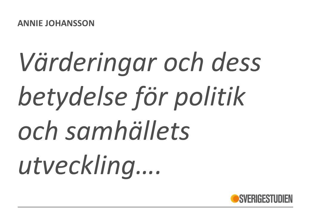 ANNIE JOHANSSON Värderingar och dess betydelse för politik och samhällets utveckling….