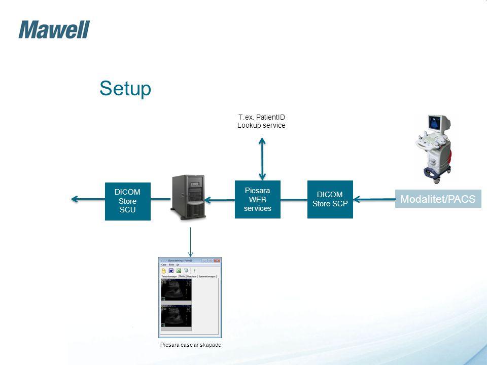 DICO M service DICO M service Server till server DICOM C-store 3e part system (lokal eller central) Picsara server DICOM modulen - Server till server
