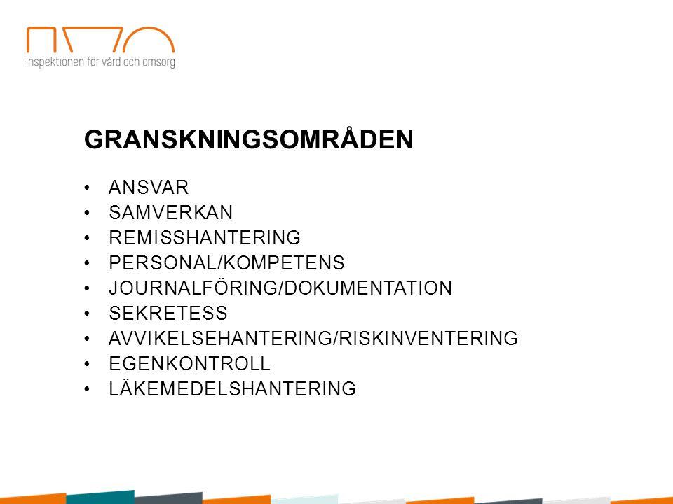 GRANSKNINGSOMRÅDEN ANSVAR SAMVERKAN REMISSHANTERING PERSONAL/KOMPETENS JOURNALFÖRING/DOKUMENTATION SEKRETESS AVVIKELSEHANTERING/RISKINVENTERING EGENKO