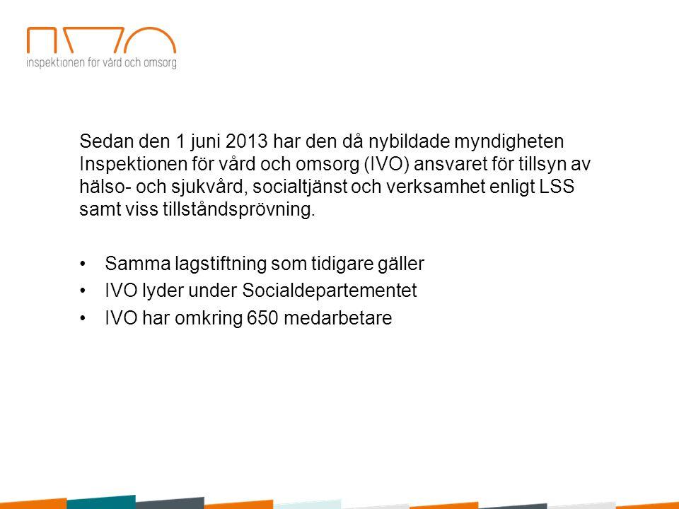 Sedan den 1 juni 2013 har den då nybildade myndigheten Inspektionen för vård och omsorg (IVO) ansvaret för tillsyn av hälso- och sjukvård, socialtjänst och verksamhet enligt LSS samt viss tillståndsprövning.