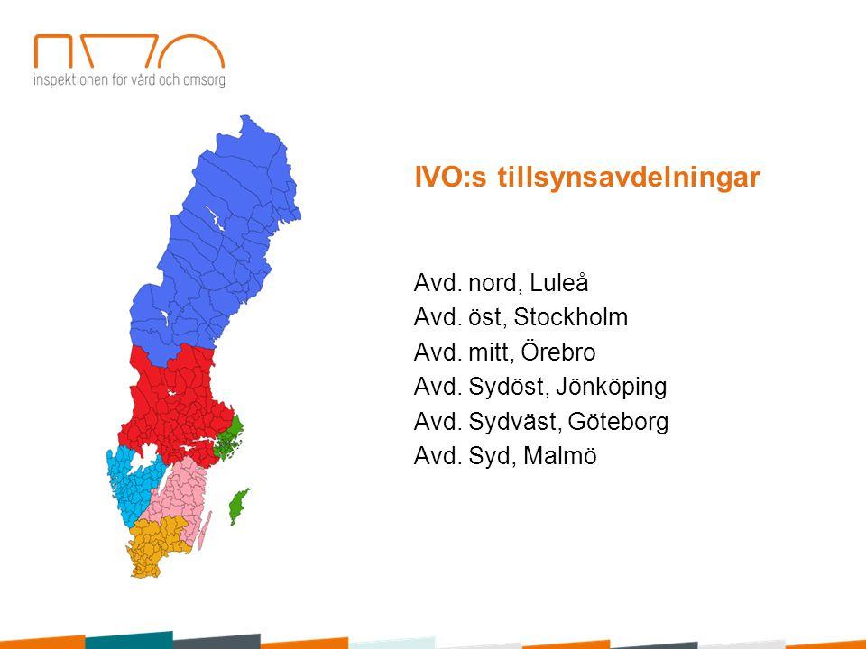 Avd. nord, Luleå Avd. öst, Stockholm Avd. mitt, Örebro Avd. Sydöst, Jönköping Avd. Sydväst, Göteborg Avd. Syd, Malmö IVO:s tillsynsavdelningar