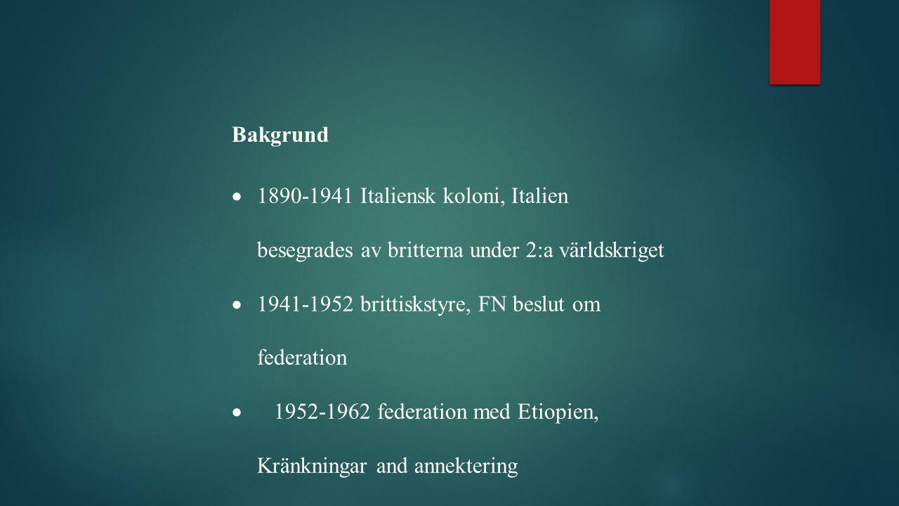 Bakgrund  1890-1941 Italiensk koloni, Italien besegrades av britterna under 2:a världskriget  1941-1952 brittiskstyre, FN beslut om federation  1952-1962 federation med Etiopien, Kränkningar and annektering