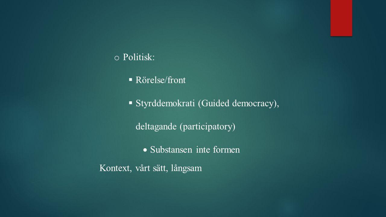 o Politisk:  Rörelse/front  Styrddemokrati (Guided democracy), deltagande (participatory)  Substansen inte formen Kontext, vårt sätt, långsam