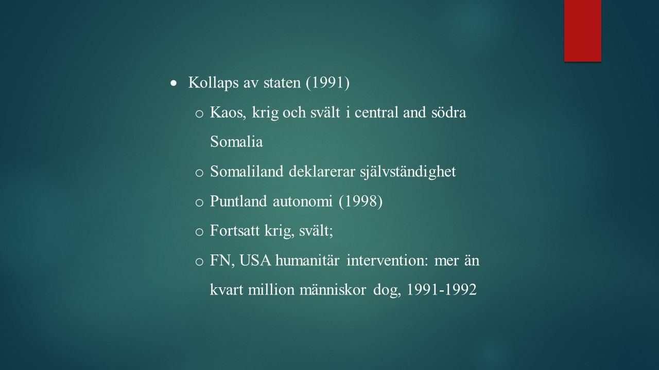  Kollaps av staten (1991) o Kaos, krig och svält i central and södra Somalia o Somaliland deklarerar självständighet o Puntland autonomi (1998) o Fortsatt krig, svält; o FN, USA humanitär intervention: mer än kvart million människor dog, 1991-1992