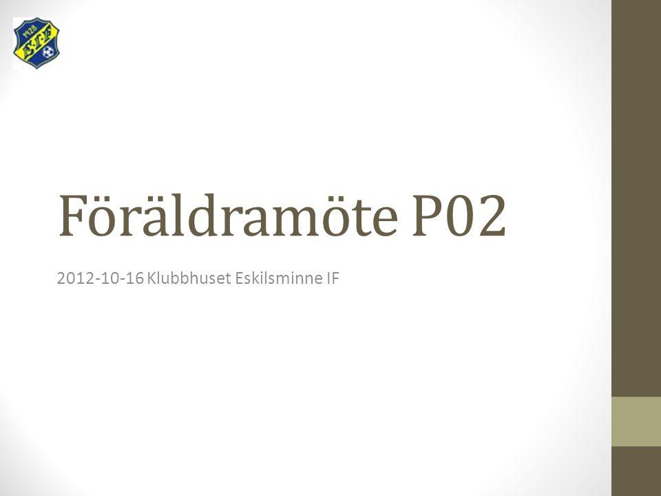 Föräldramöte P02 2012-10-16 Klubbhuset Eskilsminne IF
