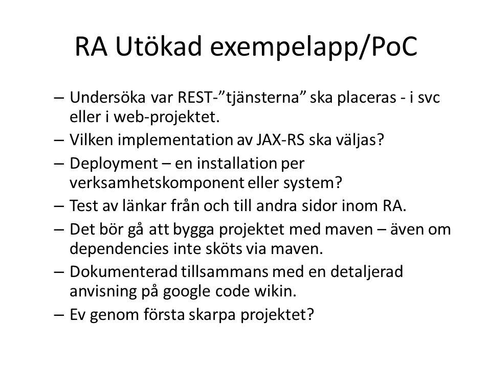 RA Utökad exempelapp/PoC – Undersöka var REST- tjänsterna ska placeras - i svc eller i web-projektet.